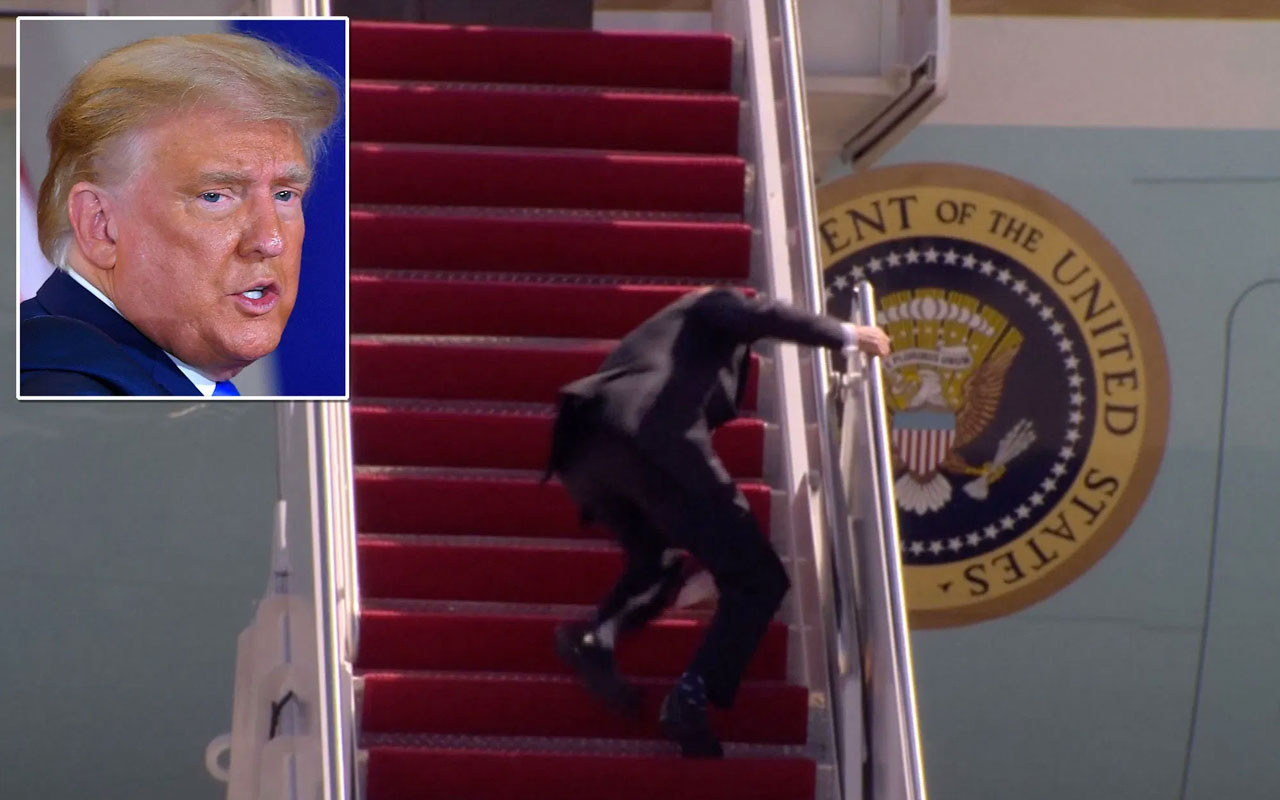 Trump'tan Biden'ın uçağa binerken düşmesine yorum