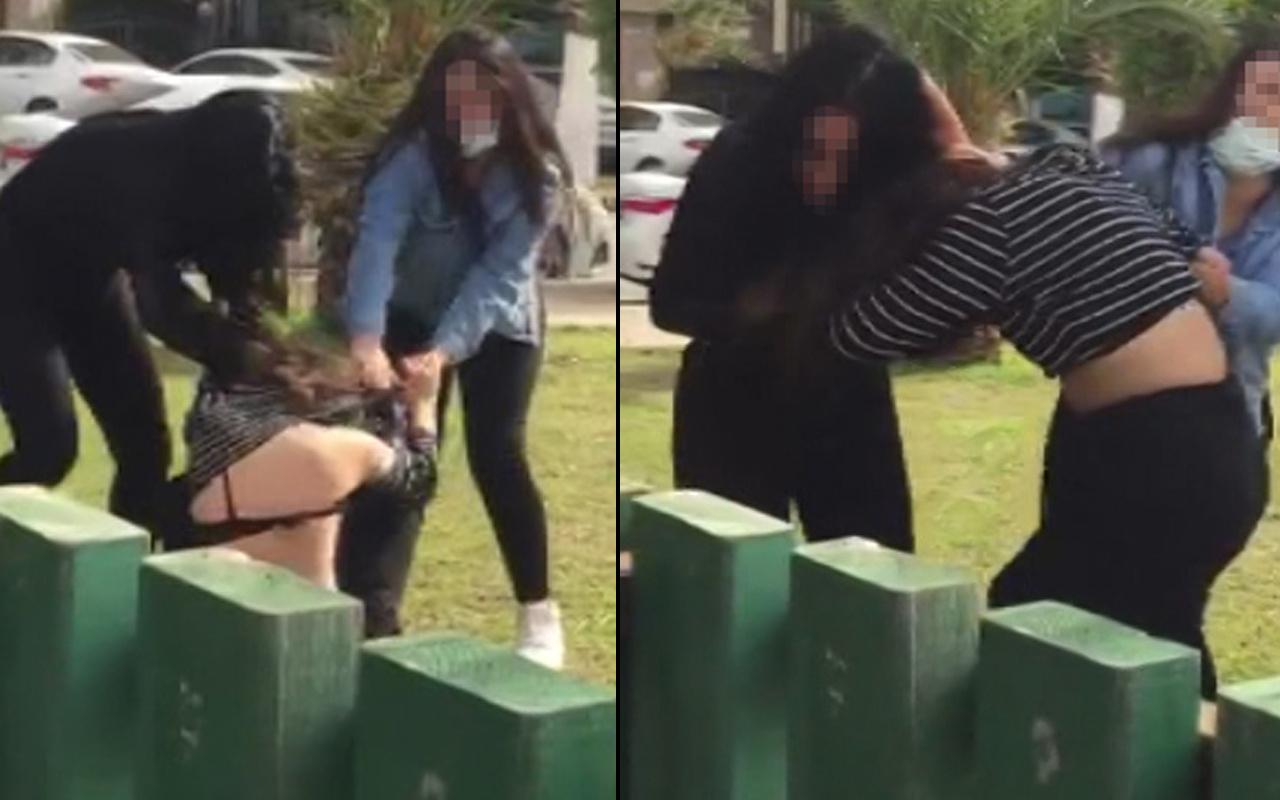 Hatay'da parkta 5 kız tekme tokat birbirine girdi! İşte o anlar
