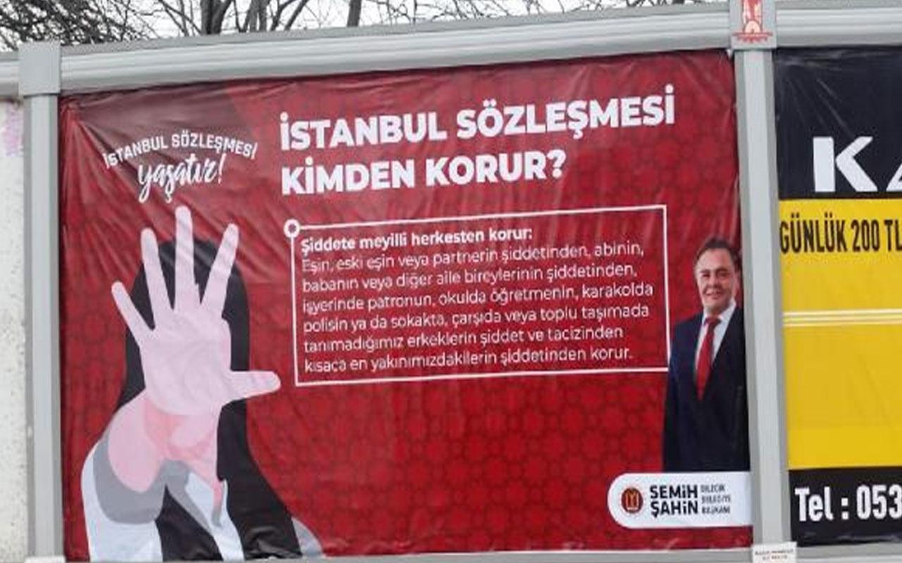 Savcılık talimat verdi! Bilecik Belediyesi'nin İstanbul Sözleşmesi pankartları kaldırıldı