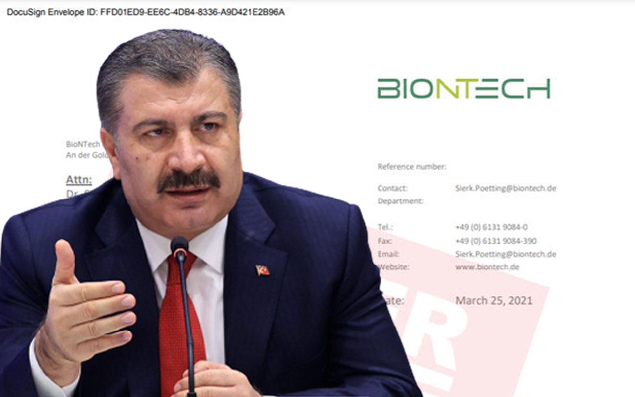 """Fahrettin Koca'dan """"BionTech"""" açıklaması: Bu belge yalan söylemediğimin belgesi"""