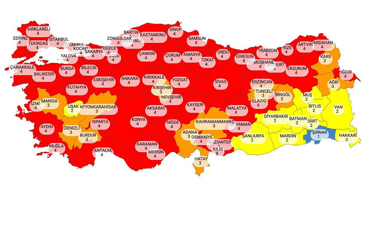 Türkiye yeni risk haritası yayınlandı! Şırnak dışında mavi il kalmadı işte harita