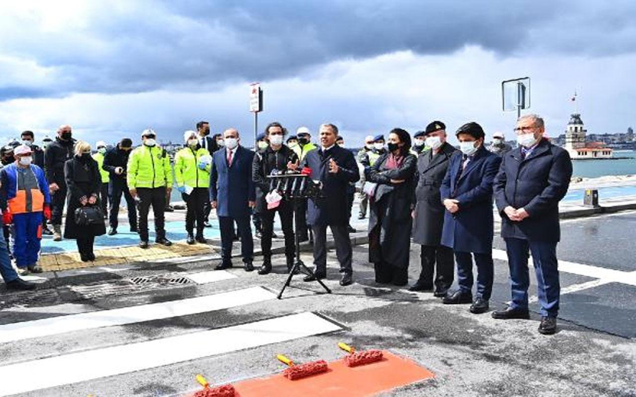 İstanbul Valisi Ali Yerlikaya Üsküdar'da yaya geçidine kırmızı çizgi çekti