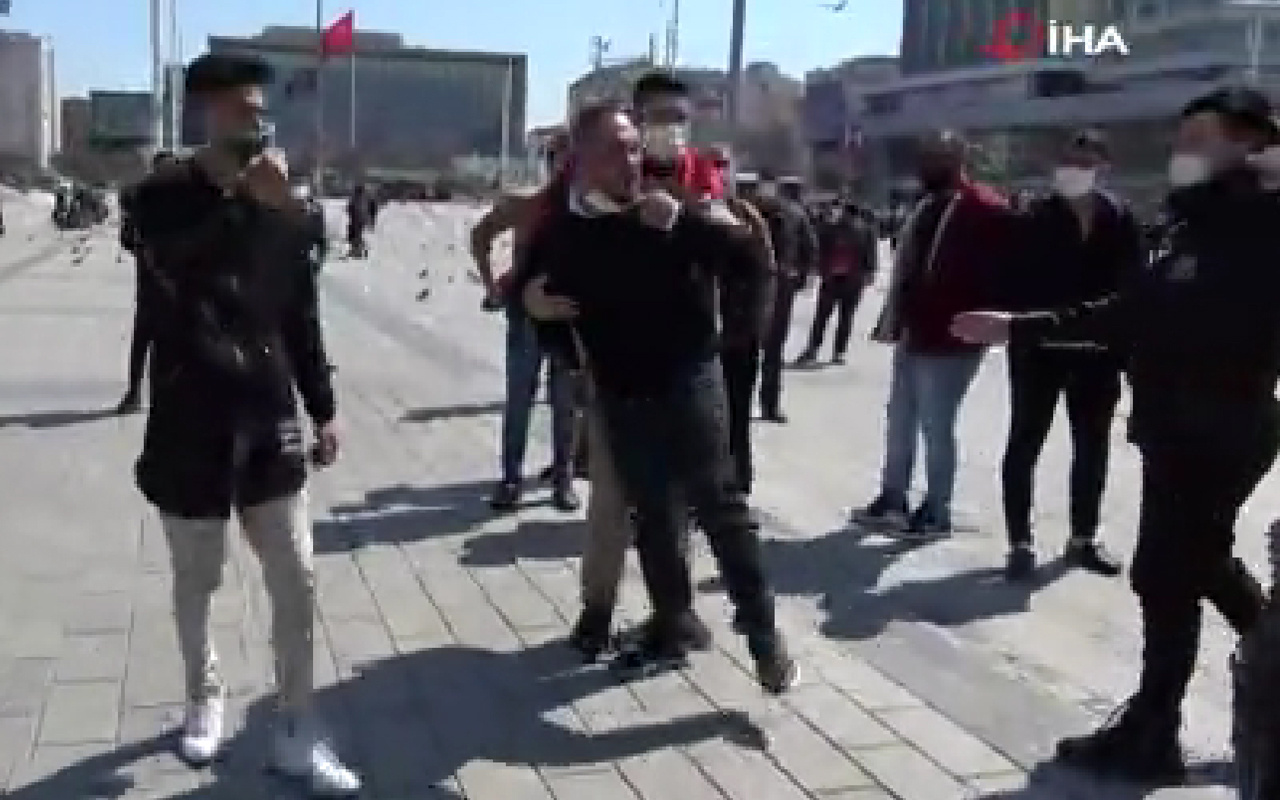 İstanbul'da Taksim Meydanı karıştı! Seyyar satıcılar gazeteciye saldırdı
