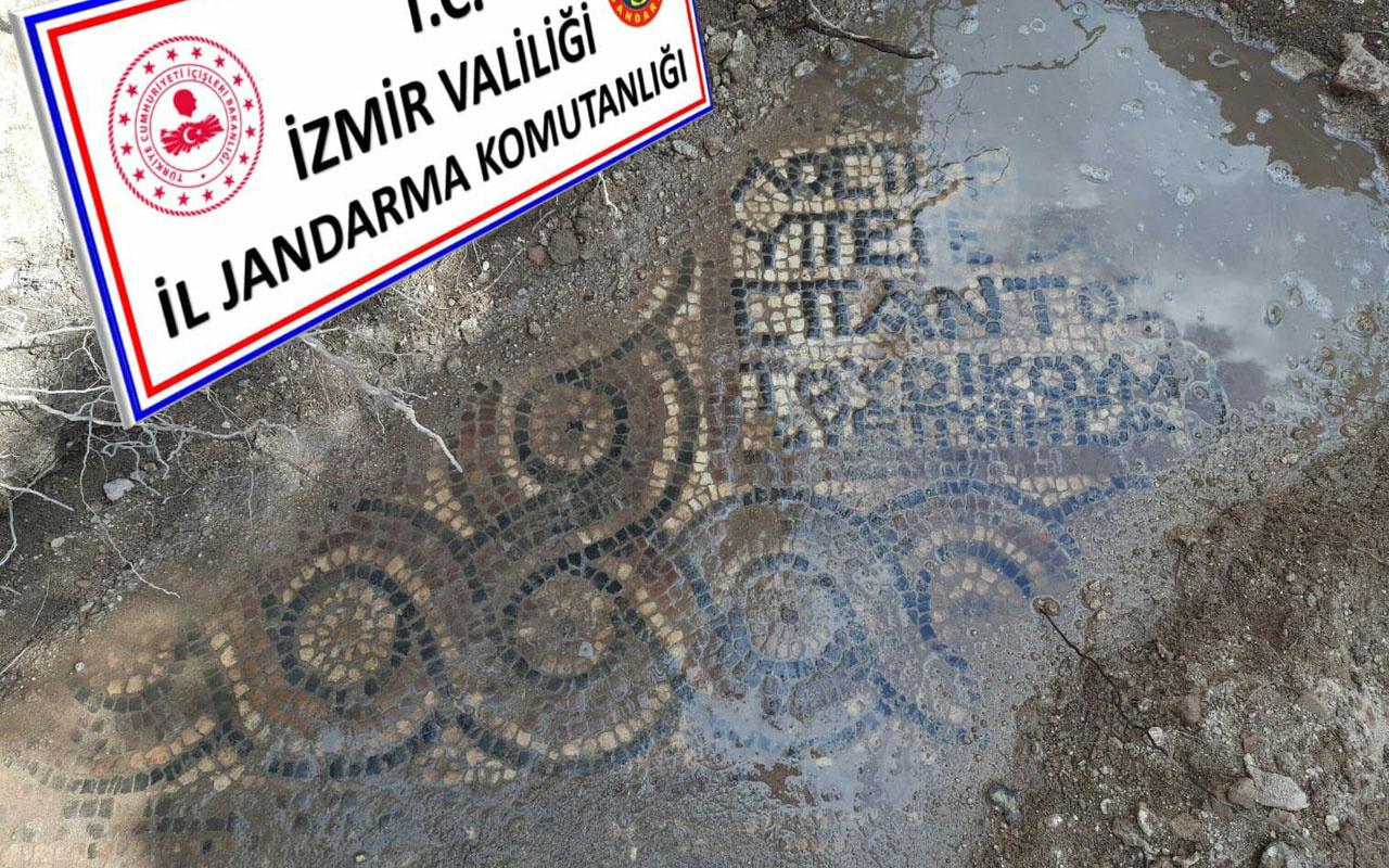 İzmir'de kaçak kazıda 1500 yıllık mozaik bulundu