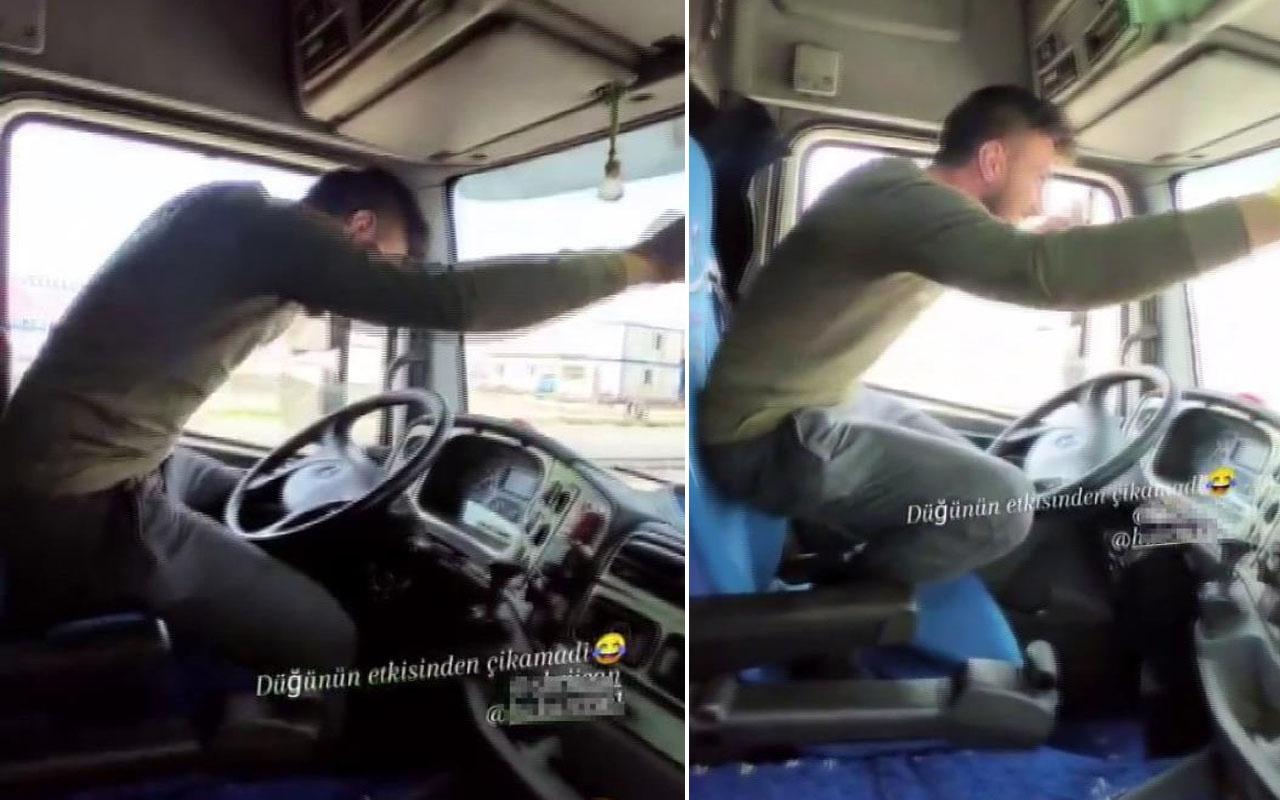 Arnavutköy'de TIR şoförü direksiyonu bıraktı, ayağa kalkıp oyun oynadı
