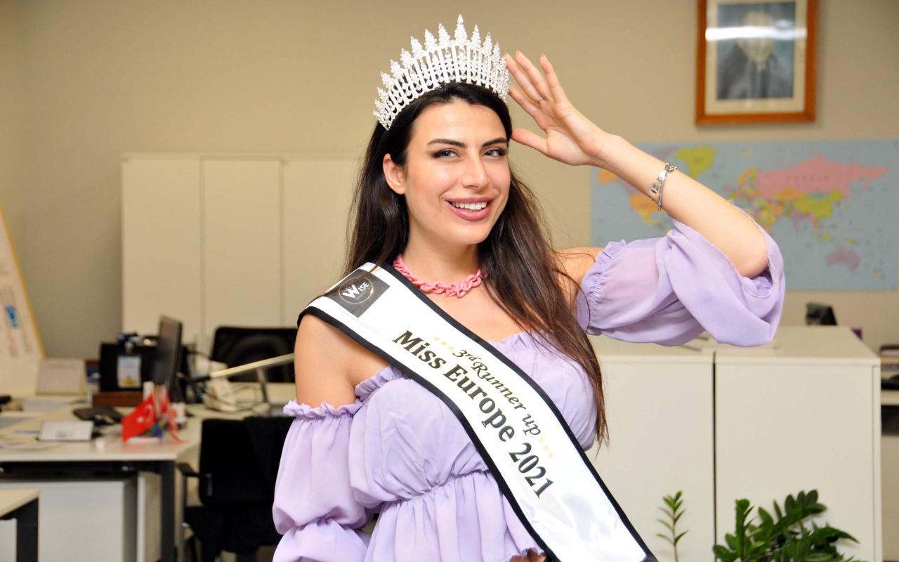 Duygu Çakmak Lübnan'da düzenlenen 'Miss Europe 2021' yarışmasında üçüncü oldu