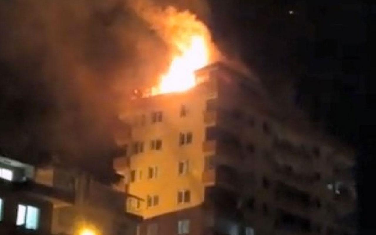 Giresun'da 6 katlı binada yangın