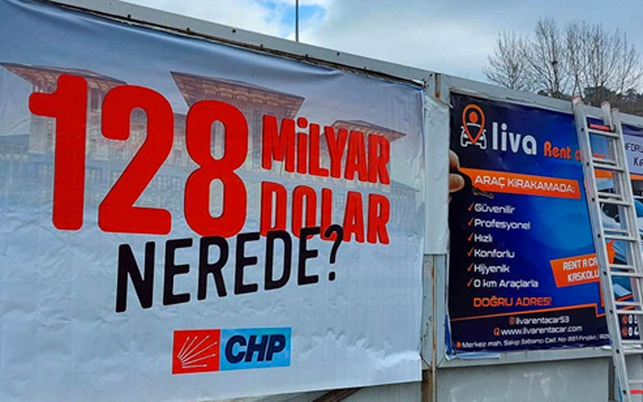 Barış Yarkadaş: Polis 'CHP'nin Fındıklı'da astığı 128 milyar dolar nerede?' afişlerini 30 dakika sonra indirdi