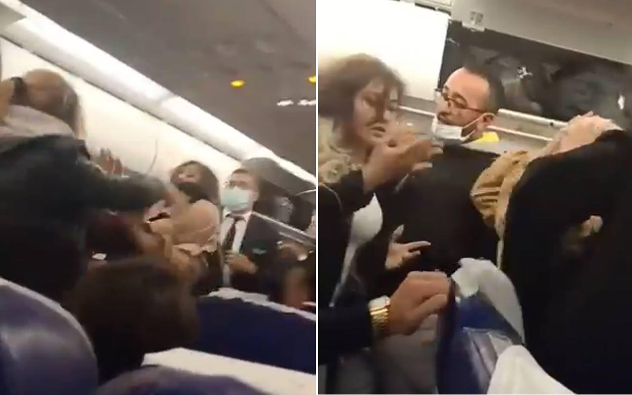 İstanbul'a gelen Tunus uçağındaki kavganın görüntüleri manşet oldu