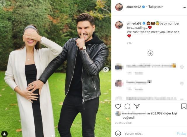 Tolgahan Sayışman'ın eşi Almeda Abazi karnı burnunda pozunu verdi beğeni yağdı