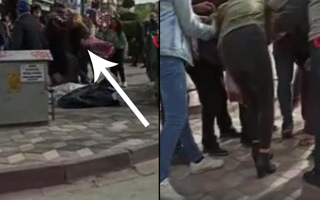 Saç baş yoldular erkekler de ayıramadı! Ankara'daki kadın kavgası