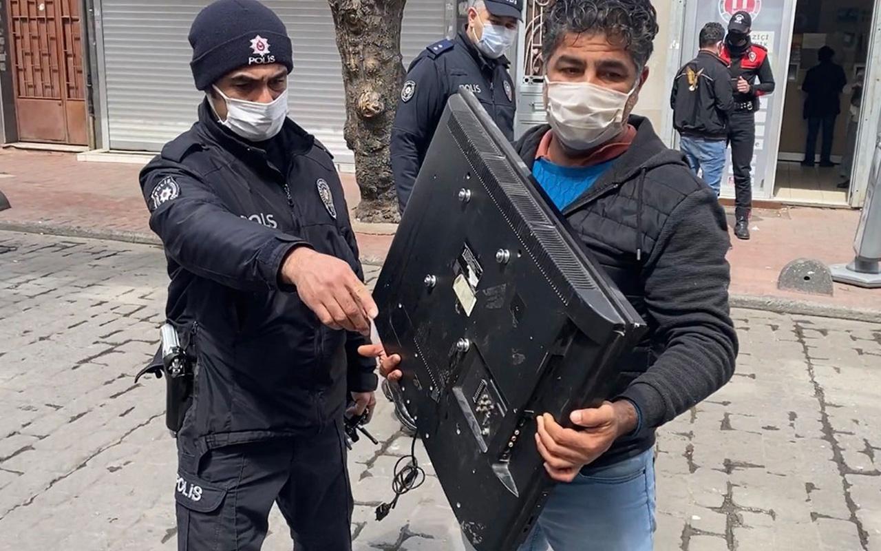 İstanbul'da kucağında çalıntıtelevizyonla denetimde polise yakalandı