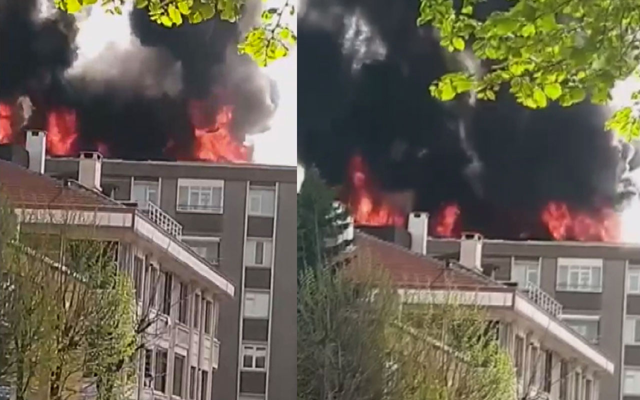 Bağcılar'da 6 katlı binanın çatısında yangın! Dehşet anları kamerada