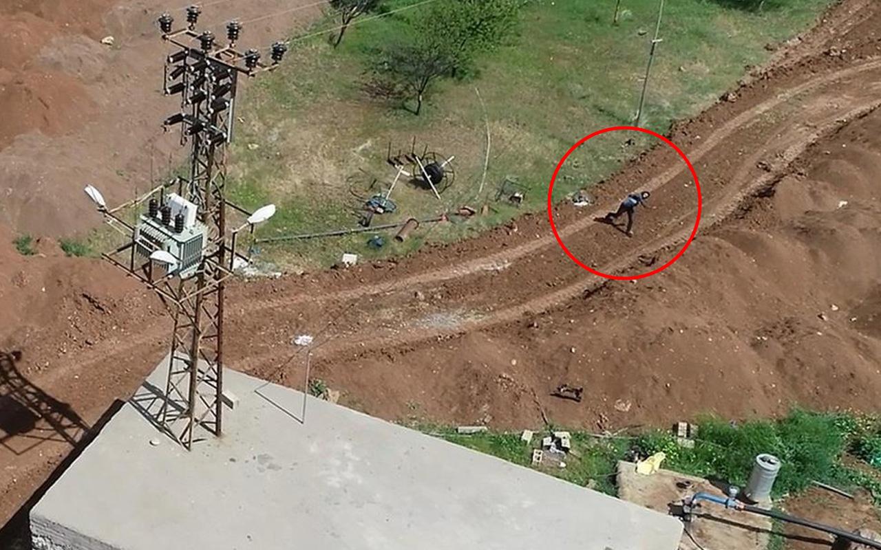 Diyarbakır'dan pes dedirten görüntü! Drone'u görünce taşlamaya başladı