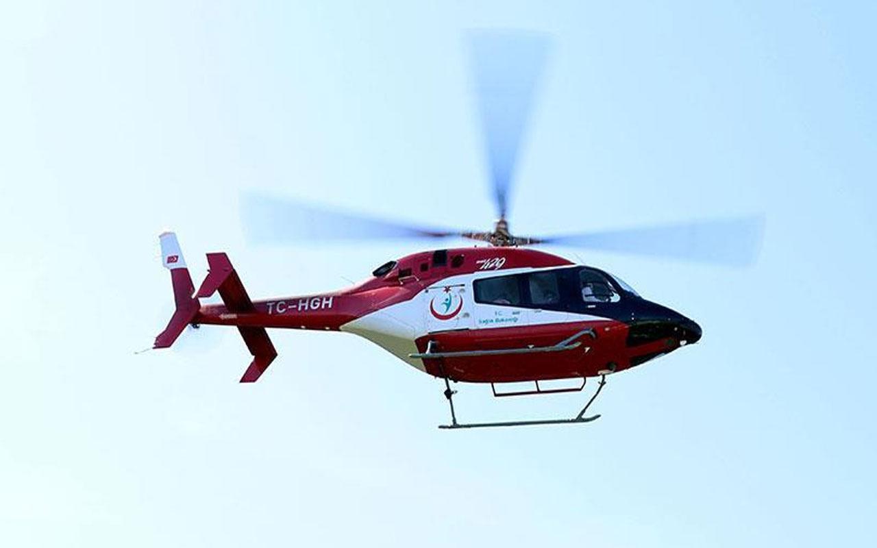 Düzce'de ambulans helikopter Kovid-19 hastası kadın için havalandı