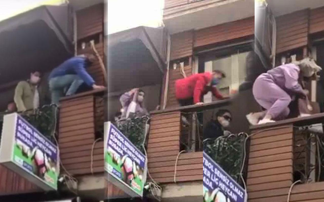 Tam kapanmanın ilk günü kafede buluştular! Polisi görünce balkondan böyle kaçtılar