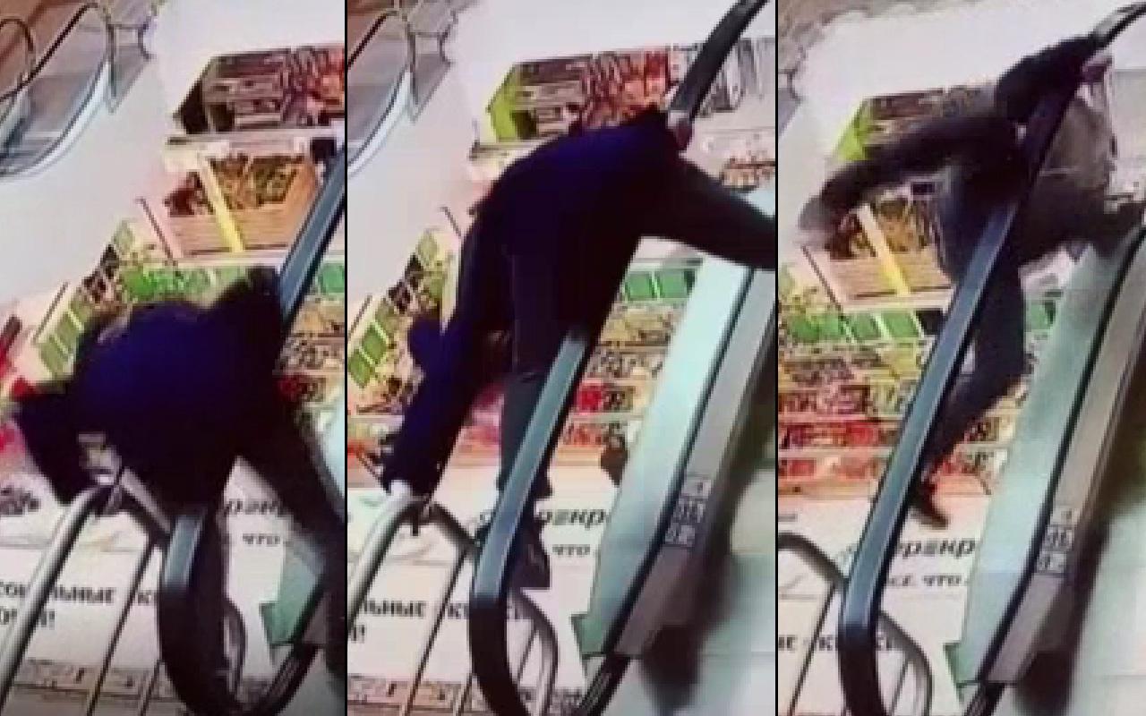 Korkunç olay! Yürüyen merdivene ayağı takıldı sonu kötü bitti