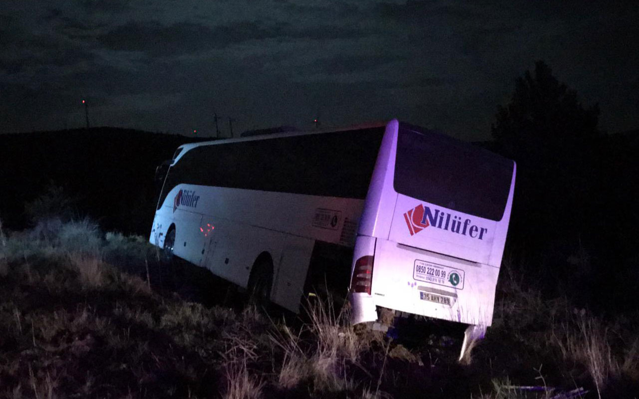 Uşak'ta yolcu otobüsü şarampole düştü! 2 yaralı var