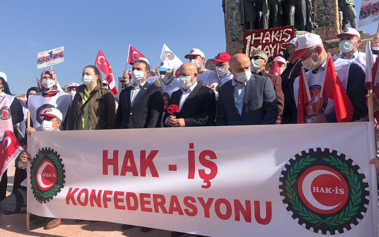 HAK-İŞ Taksim Cumhuriyet Anıtı'na çelenk bıraktı