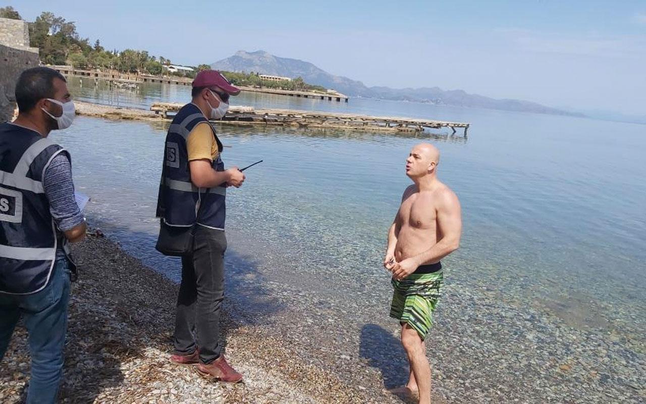 Muğla Datça'da denize girdi 'İşsizim ceza kesmeyin' dedi
