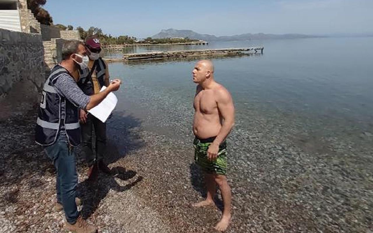 Muğla'da denize girerken yakalanan kişi ile polis arasında ilginç diyalog
