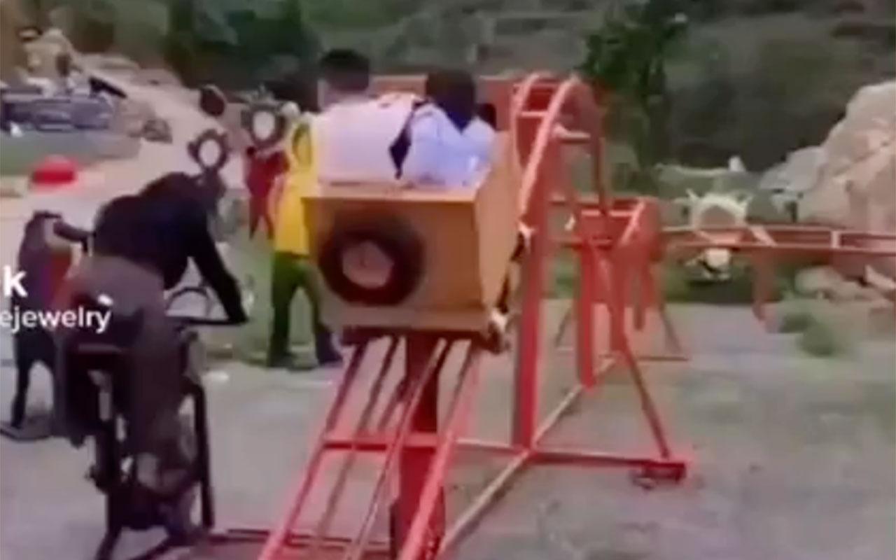 Sıra dışı çocuk parkı! Anne spor yaparsa çocuklar eğlenebiliyor