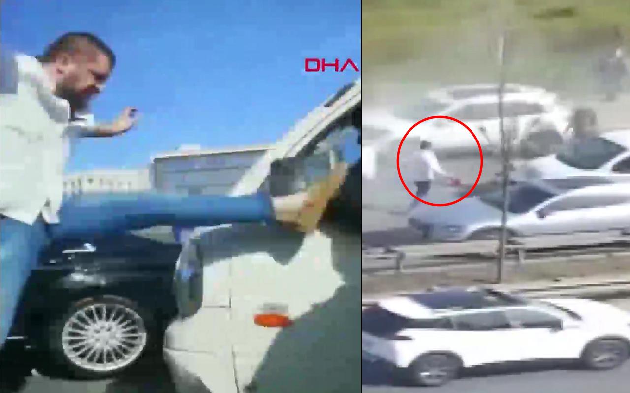 İstanbul'da trafikte tekme atıp saldırdı yangın tüpüyle kovaladı! İşte o anlar