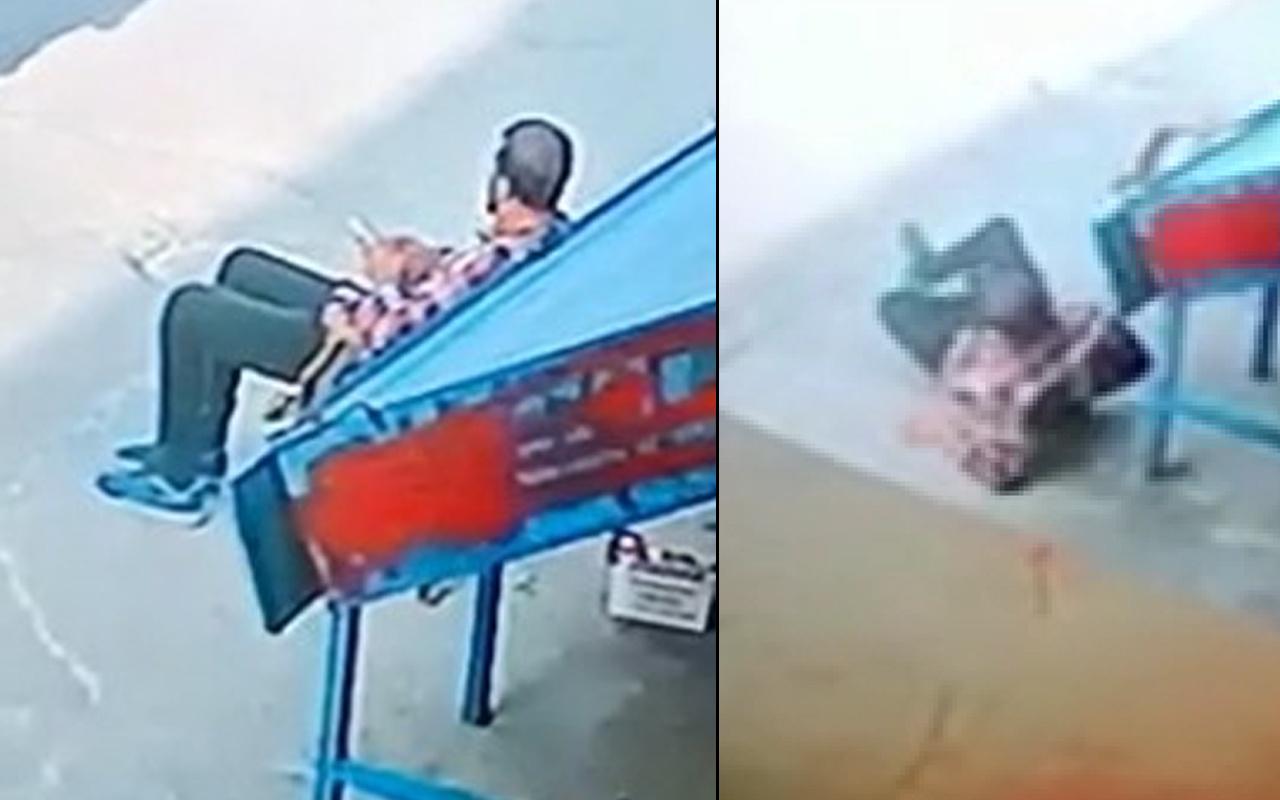Mersin'de kaldırımda otururken bir anda yere yığıldı! İşte saldırı anları...