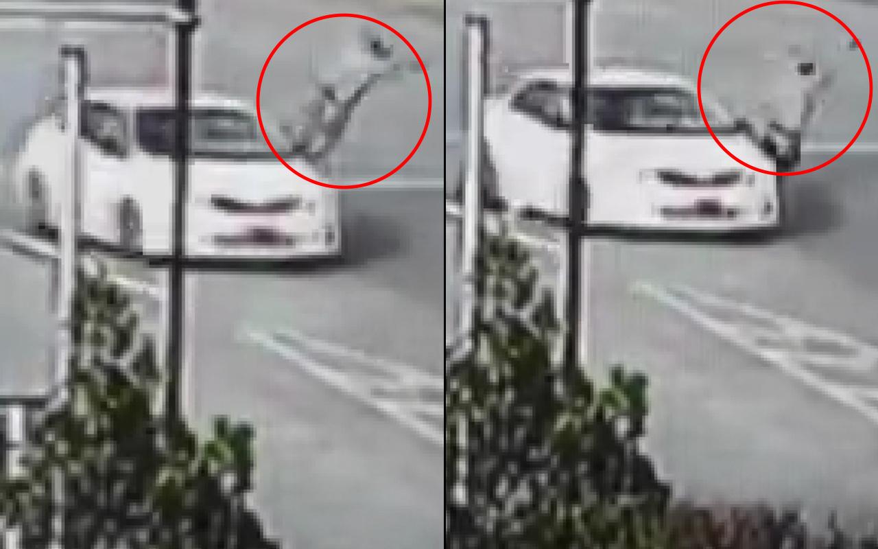 Aşırı hız yaparak polise çarptı! Metrelerce yüksekten yere çakıldı