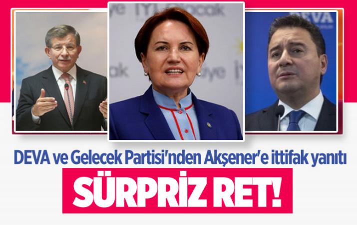 Meral Akşener'in 'seçim iş birliği' mesajına DEVA ve Gelecek Partisi'nden ret yanıtı