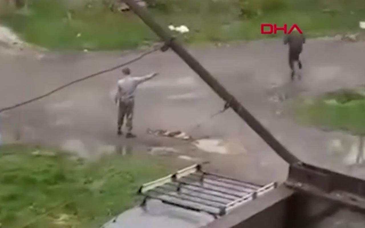 Alkollü şahsın elinde tuttuğu bomba patladı! Rusya'daki dehşetin görüntüsü