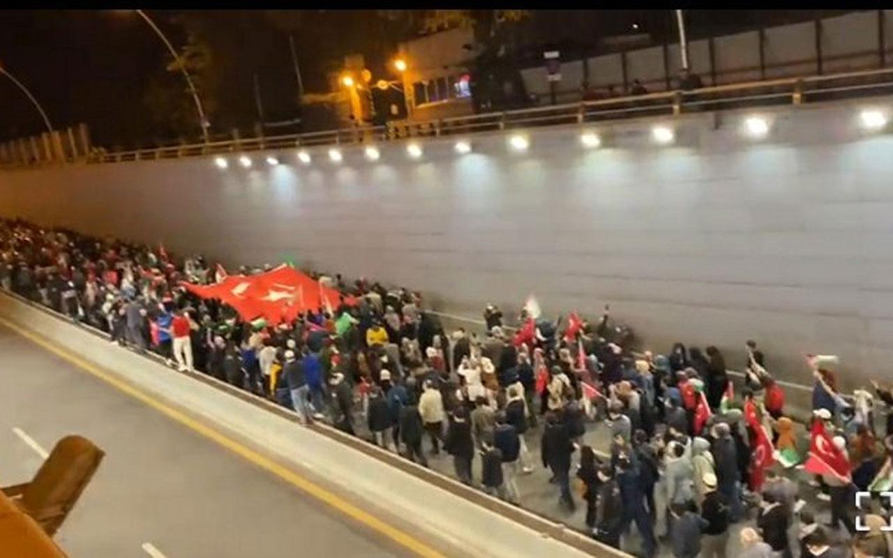 İsrail zulmü Ankara'da protesto edildi