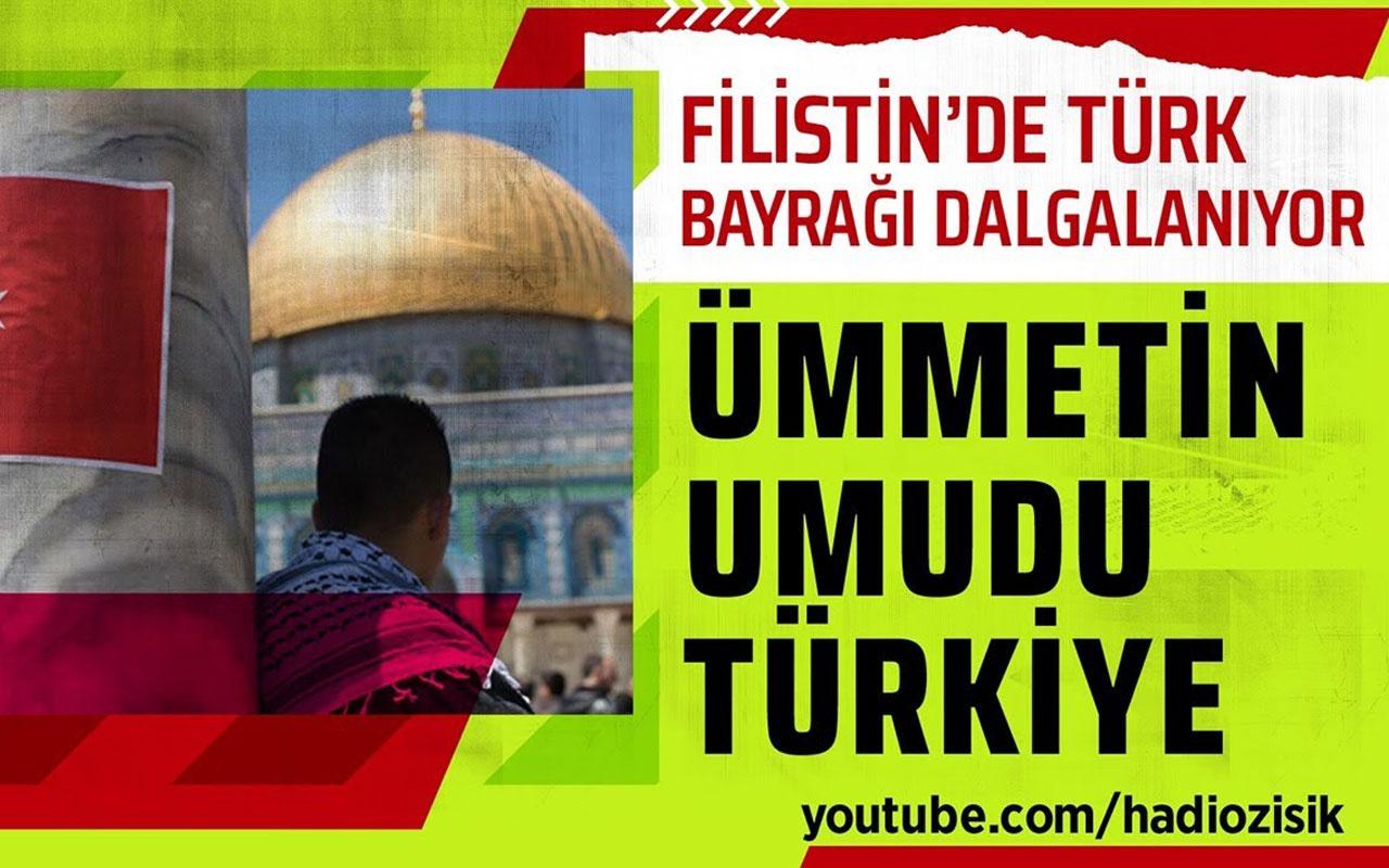 Filistinliler, İsrail askerlerine karşı ellerinde Türk bayrakları ile mücadele ediyor!