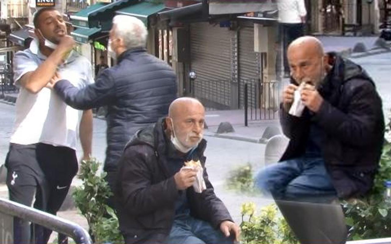 Taksim'de seyyar satıcı-zabıta arbedesi çıktı o aldırmadan dürümünü yemeye devam etti
