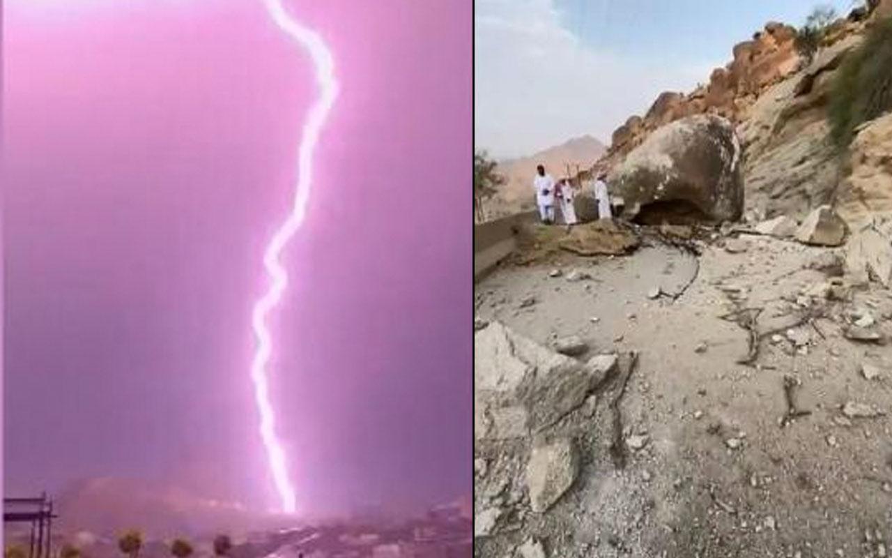 Suudi Arabistan'da dağa düşen yıldırım dev kayalığı parçaladı