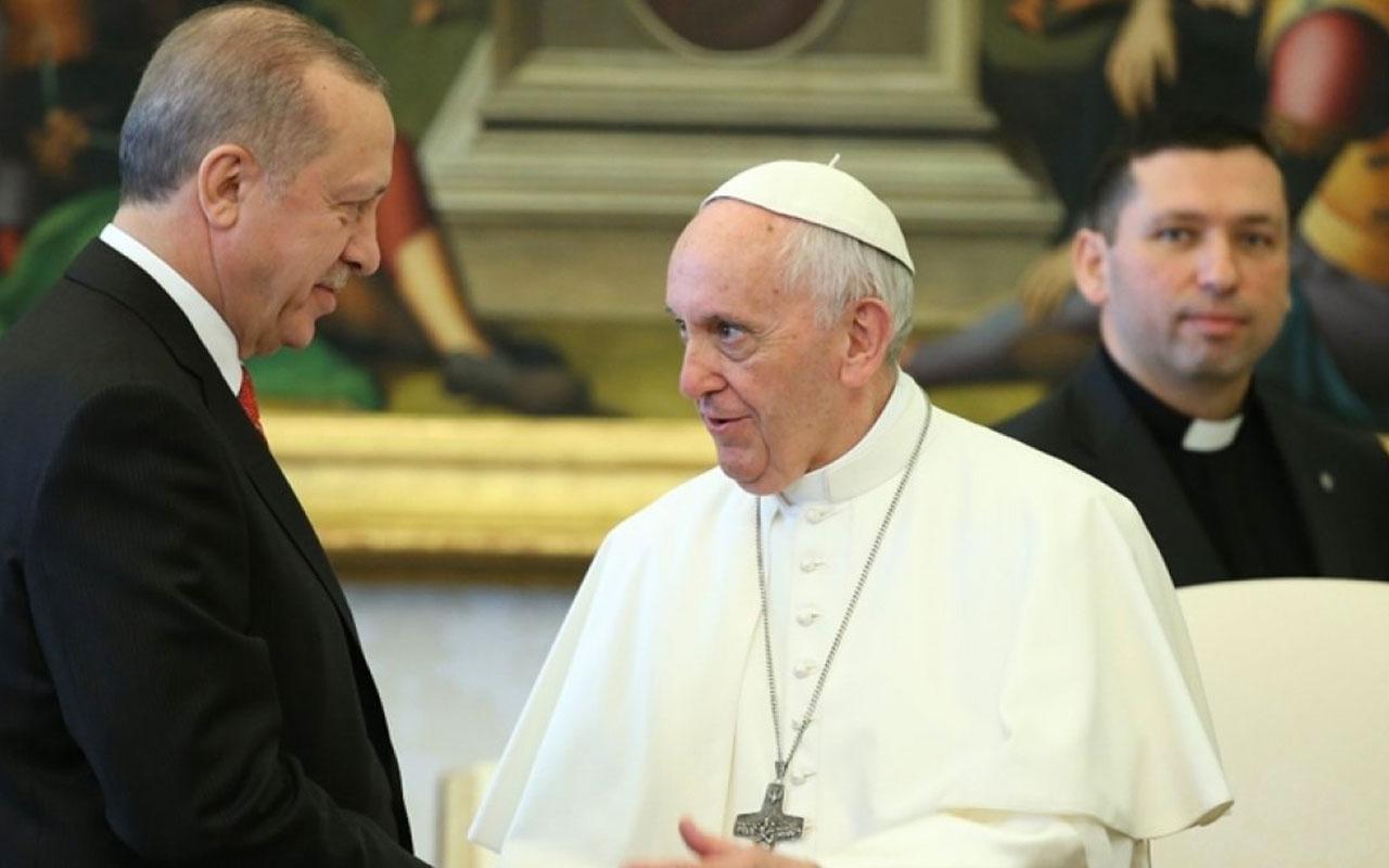 Son dakika Cumhurbaşkanı Erdoğan Papa Fransuva ile Filistin'i görüştü
