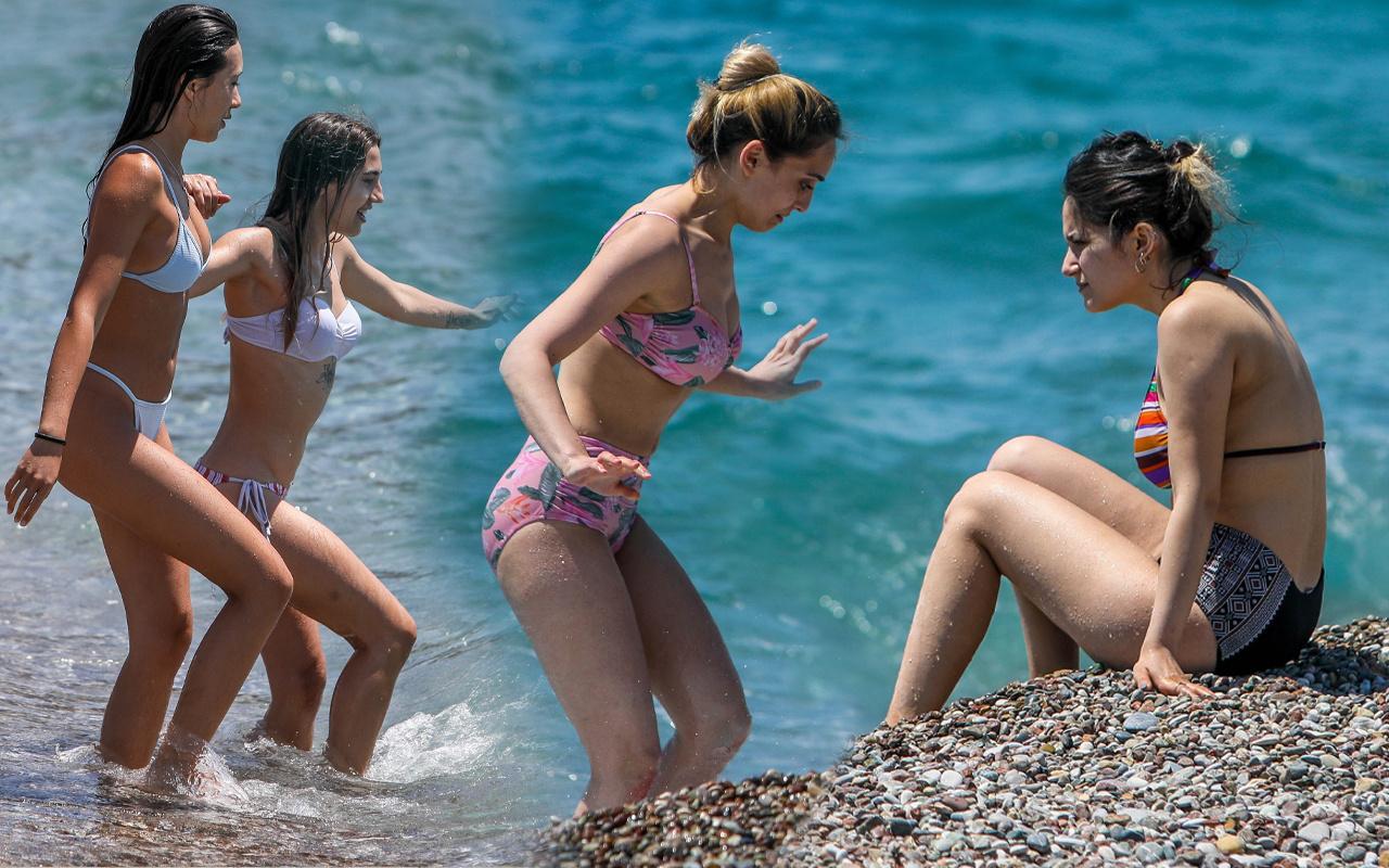 17 günün sonunda plajlara akın ettiler! Antalya Mersin'de salgın unutuldu