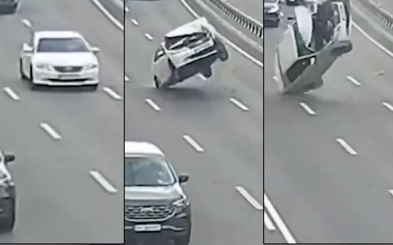 Böyle kaza görülmedi! Yolda giderken bir anda takla attı