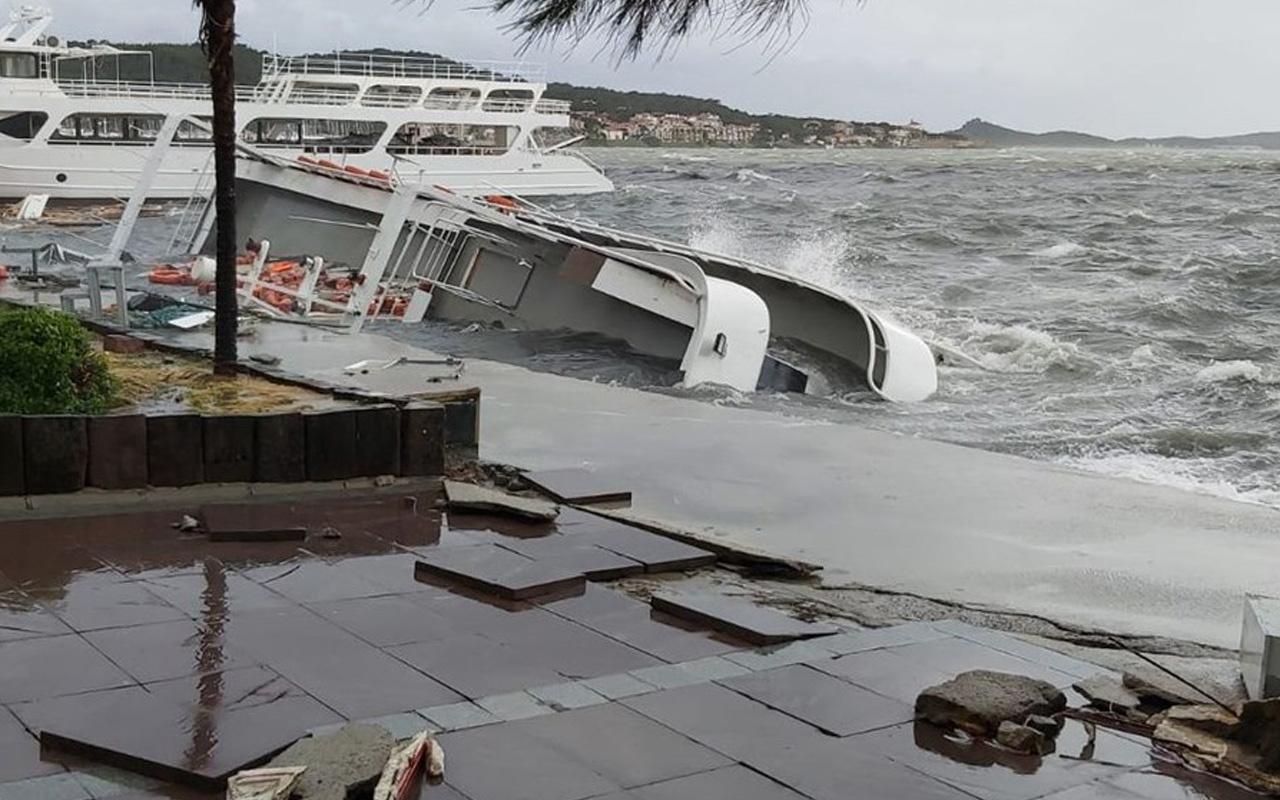 Balıkesir Ayvalık'ta şiddetli fırtına: 20 tekne battı 1 evin çatısı uçtu