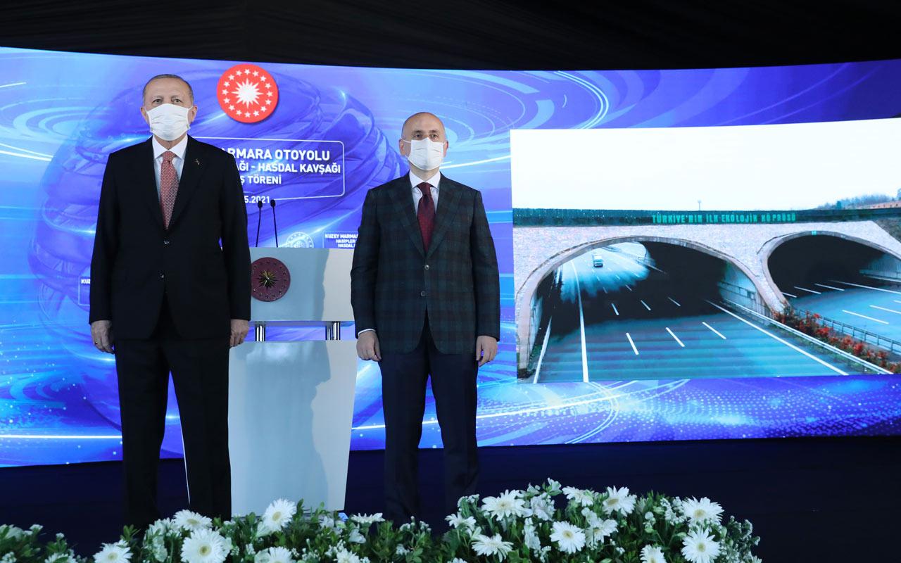 Kuzey Marmara otoyolu tamamlandı Cumhurbaşkanı Erdoğan'dan önemli açıklamalar