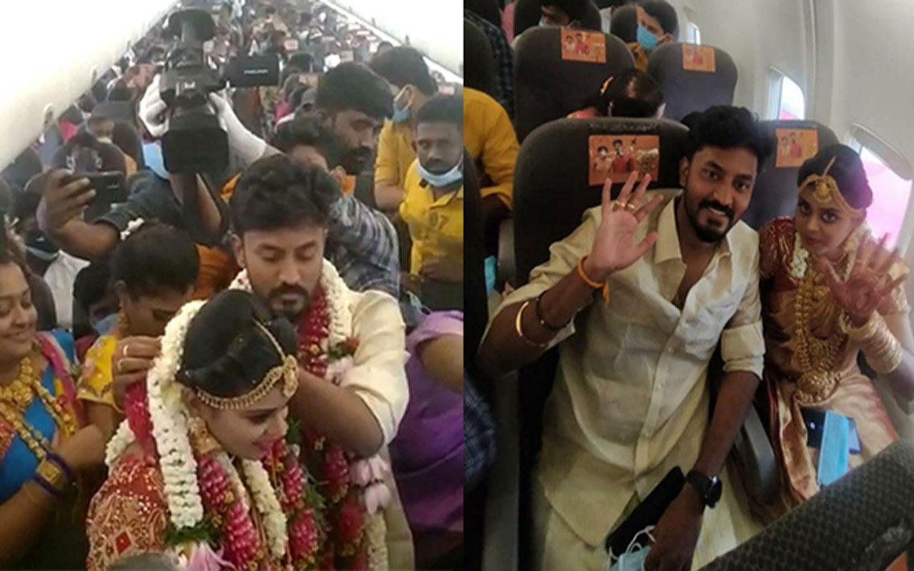 Vaka rekoru kıran Hindistan'dan pes dedirten görüntü! Kısıtlamalarından kaçmak için uçakta düğün yaptılar