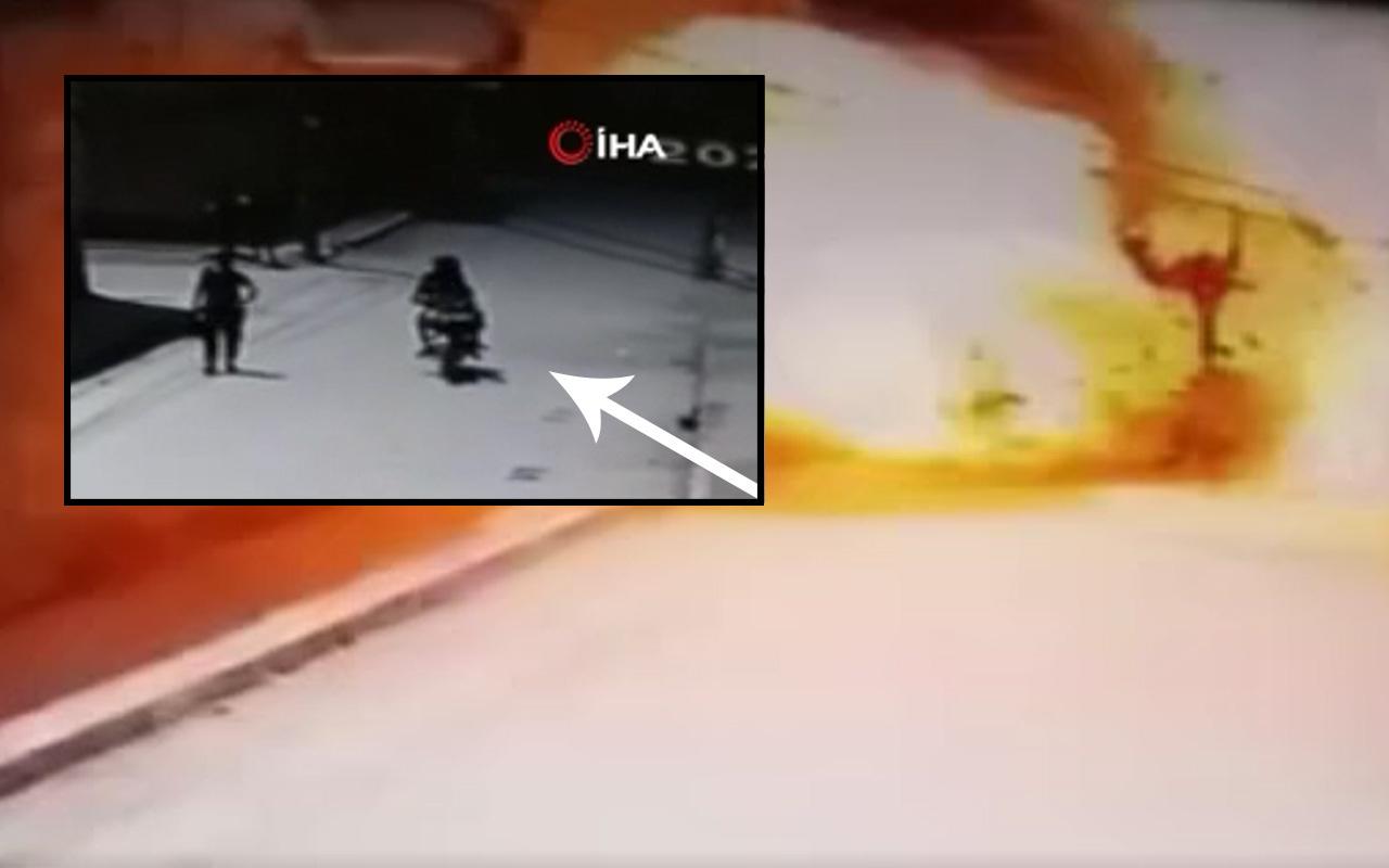 3 sivil öldü! Suriye Cerablus'ta bomba yüklü motosikletin patlama anı