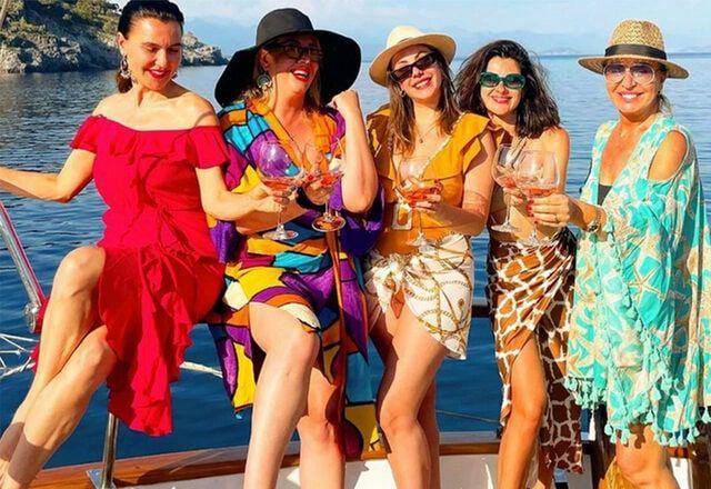Yasak Elma'nın kadınlarından teknede olay pozlar iki isim küs demişlerdi
