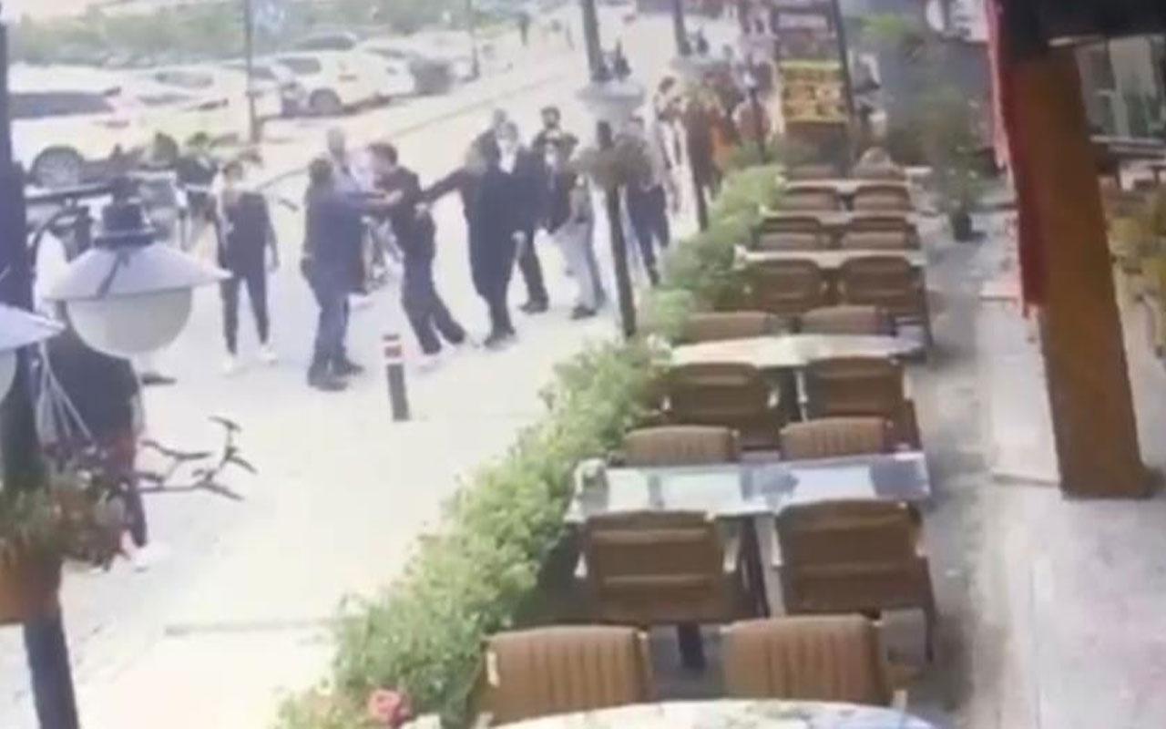 İstanbul'da restoran çıkışında karısını döven adama meydan dayağı