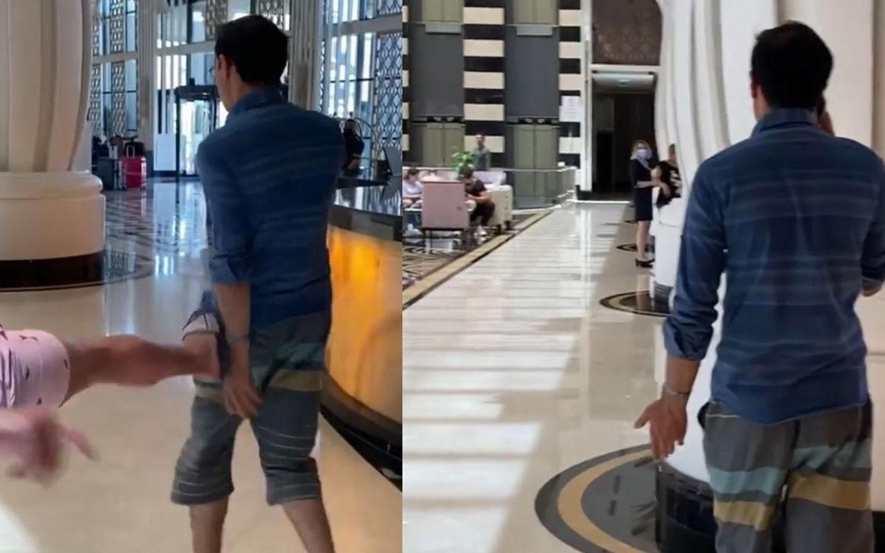 Lüks otelde sapıklık! Antalya'da çocukların fotoğrafını çeken sapık turiste tekme attı