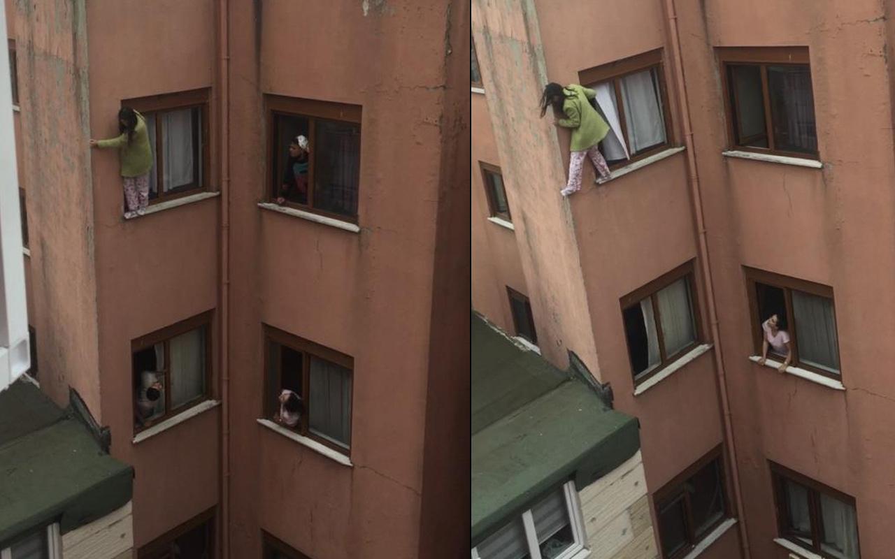 İstanbul'da dehşet anları: Genç kız kendini balkondan aşağıya attı