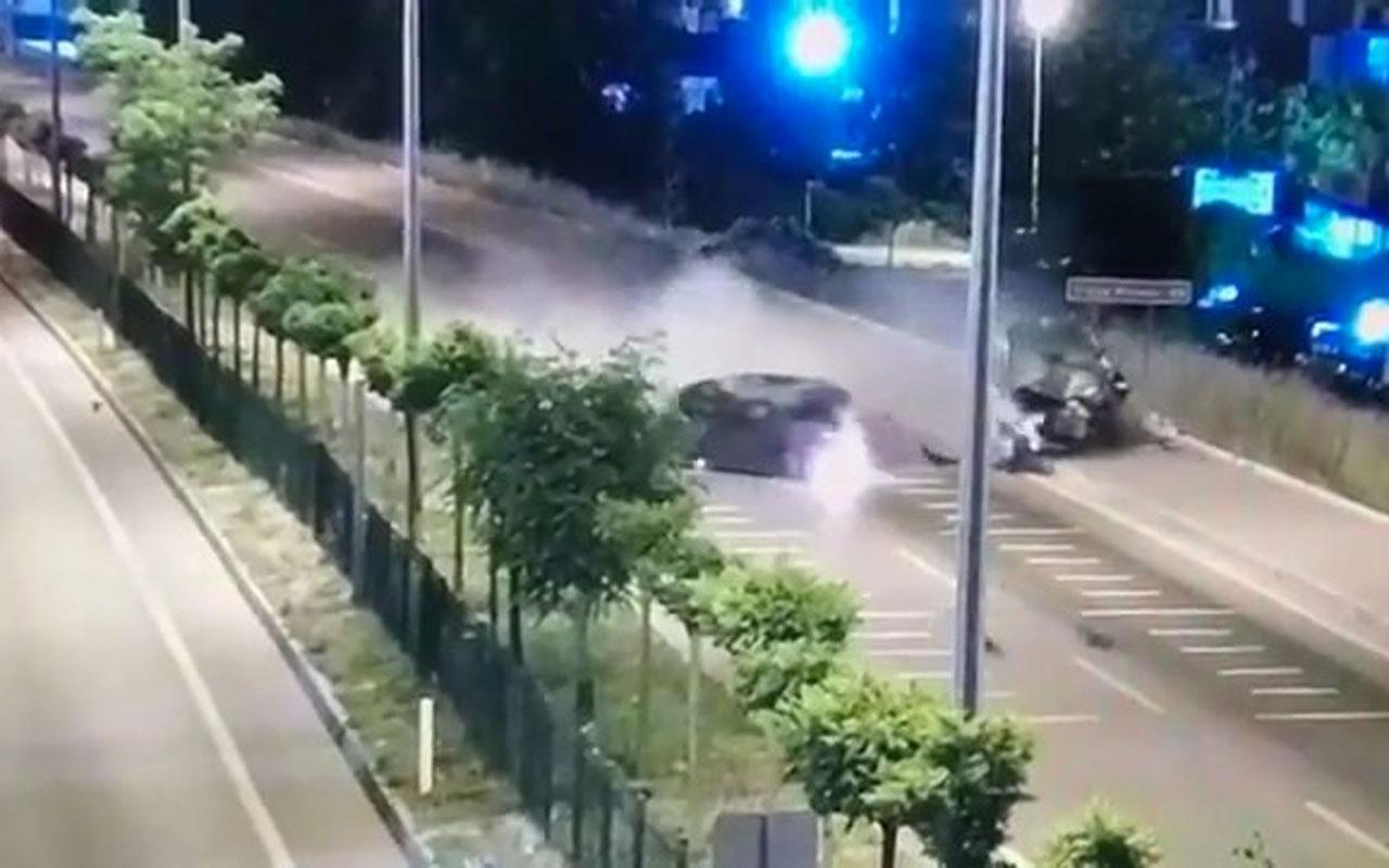 Çanakkale'de polis memurunun şehit olduğu kaza MOBESE kamerasına yansıdı