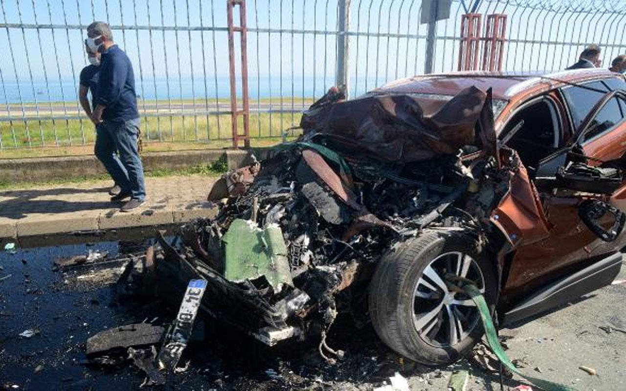 Trabzon'da cip belediye otobüsüne çarptı: 1 ölü, 1 yaralı