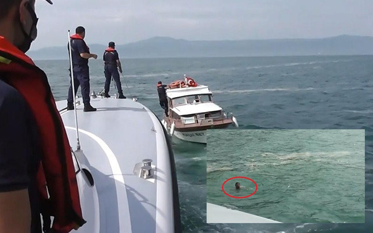 Mudanya'da teknesine müsilaj takıldı az daha boğuluyordu