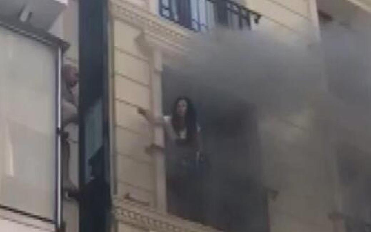 Fatih'te oteldeki yangında can pazarı! Korku dolu anlar kameraya yansıdı